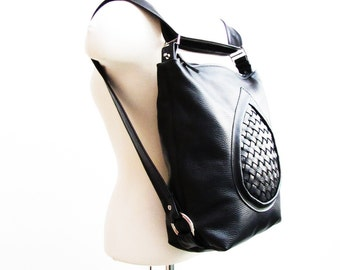 Black leather backpack purse, mid sized slouchy leather bag, transformable bag, messenger, MacBook bag - MADE TO ORDER