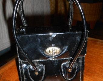 Vintage Black Patent Leather Purse Handbag Child's