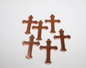Copper Cross, Enameling Supplies, Religious Cross, Metal Cross, Blank Cross Charm, 18 g