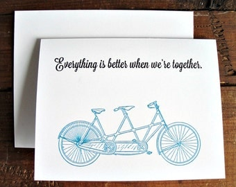 Better When We're Together - Tandem Bike Greeting Card