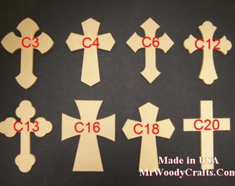 """50 4"""" x 6"""" x 1/4"""" Unfinished Wooden Cross made from MDF, Your choice from 8 Crosses. 040625-50"""