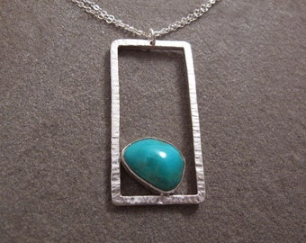 Rectangle Necklace Gemstone Turquoise Cabochon Sterling Silver Metalwork