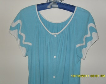 Vintage 60s Blue Terry Duster or Robe, Size S/M