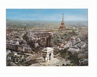 Eiffel Tower & Arc de Triomphe Vintage French Postcard Paris
