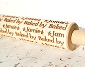 Personalized embossing rolling pin, Custom wooden rolling pin, Cookies decorating roller, Laser engraved rolling pin