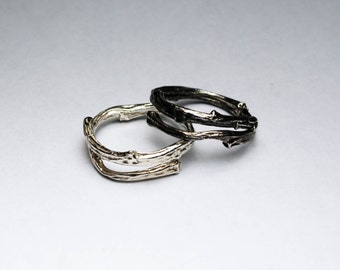 Tompkins Square Park Sterling Silver Twig Ring -open wrap