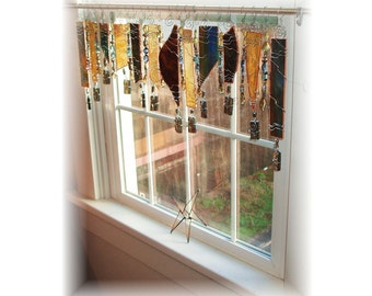Last Breath of Fall Stained  Glass Window Treatment Window Valance Kitchen Bathroom