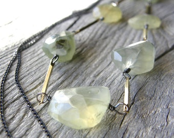 Extra Long Green Prehnite Gemstone Gold and Sterling Silver Chain Necklace, Mixed Metals Layering Necklace, One of a Kind