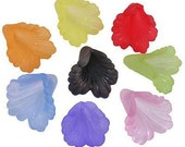 20 Large Ruffled Calla Lily beads 20mm Acrylic Flowers Mixed
