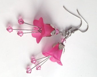 Lucite Flower Earrings, Crystal Swarvoski Earrings, Lily Earring, Art Nouveau, Antique Silver, Indian Pink Earrings, Gift, My Julie Jewels