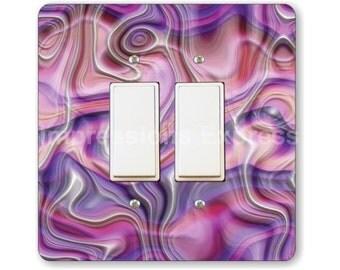 Purple Silk Ripple Square Double Decora Rocker Light Switch Plate Cover