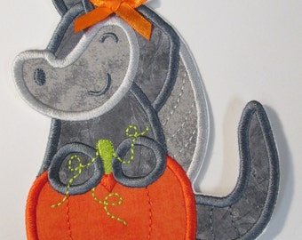 Pumpkin Armadillo Iron On or Sew On Appliques