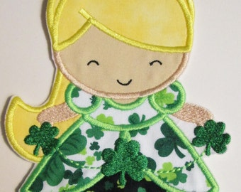 St. Patrick's Day Irish Princess Doll - Iron On or Sew On Embroidered Applique