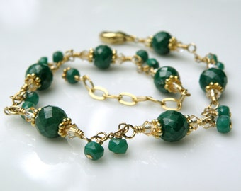 Emerald Bracelet, 14k Gold Filled, Natural Gemstone, Genuine Emerald Stone, Chain and Link, May Birthday Birthstone Jewelry Ready to Ship