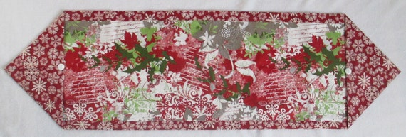 Christmas Cranberry Red Green Table Runner By