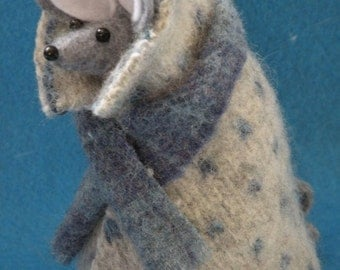 Still Wrapped up Felt Mouse  soft sculpture  decoration
