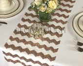 Rose Gold Chevron Sequin Table Runner Wedding Table Runner