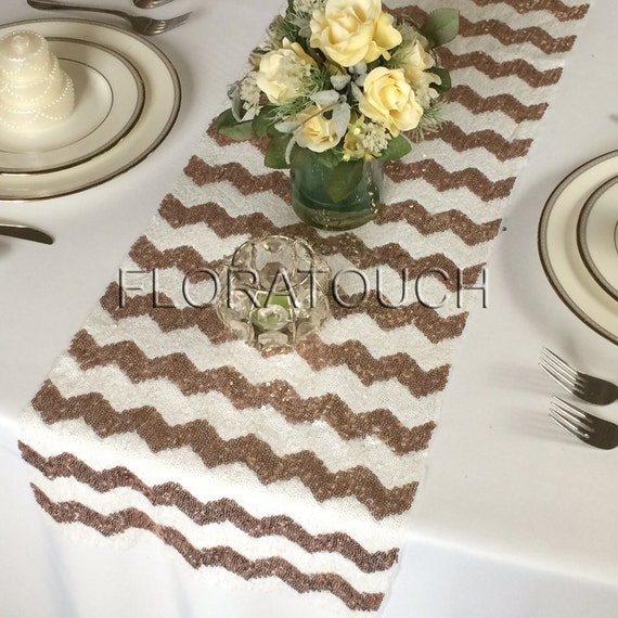 rose gold chevron sequin table runner wedding table runner. Black Bedroom Furniture Sets. Home Design Ideas