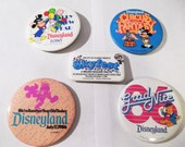 Disneyland Souvenir Button Lot Pins 1980s disney birthday grad nite circus fantasy
