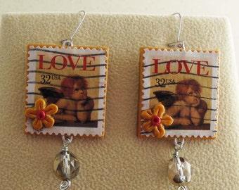 Cupid earrings - Love postage stamp