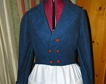 Regency or Mad Hatter Blue Tail Coat Double Breast Buttons Wool Blend Used About Size 6 or 8