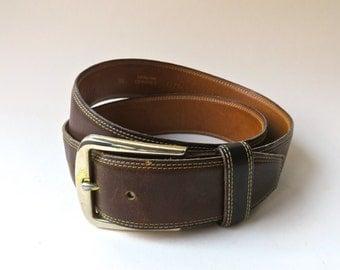 Distressed vintage Knothe Dark Brown Leather Belt