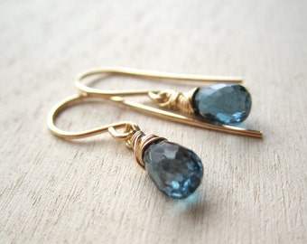 Smoky London blue topaz faceted gemstone drop earrings with 14k gold filled wire