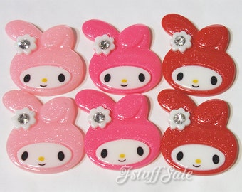 Large My Melody flat back cabochons - 6 pcs mixed color set - 40mm x 38mm