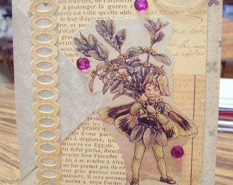Purple and Tan Fairy and Flowers card