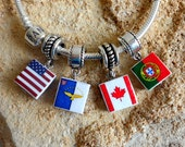 Portugal Portuguese LUSO AMERICAN CANADIAN Azores Flag Pendant   European Bracelet Charm - Portuguese Heritage
