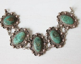 Vintage Turquoise Link Bracelet / Taxco / Green and Brown Matrix
