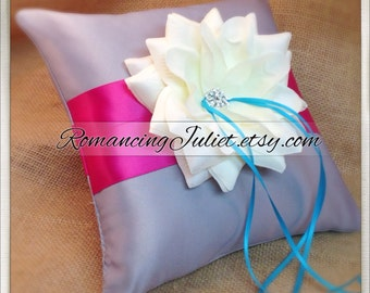 10 inch Satin and Sash Ring Pillow with Large Rhinestone Center Rose..Choose The Colors..shown in silver gray/dark fuschia/turquoise/ivory