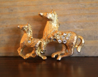 SALE ** Jeweled Horse and Foal Brooch