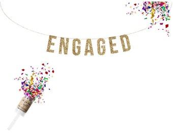 Engagment Photo Prop. ENGAGED Gold Glitter Banner.  Bridal shower decor. Wedding Party. Wedding Shower.