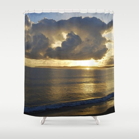 Items similar to sunset shower curtain art new zealand for Sunset bathroom designs