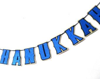 HANUkKAH Banner, Hanukkah Garland, Hanukkah Decor, HAPPY HANUKKAH Banner, Gold Hanukkah Banner, Blue Hanukkah Banner, Blue Glitter Hanukkah
