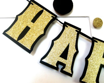 Black and Gold Birthday Banner, Gold HAPPY BIRTHDAY Banner, Custom Birthday Banner - Gold Glitter on Black