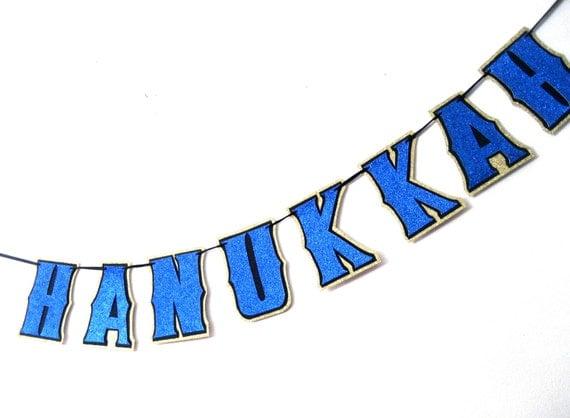 HAPPY HANUkKAH Banner - Blue Glitter on Flat Black and Gold Glitter