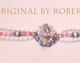 Vintage Bracelet Designer Original By Robert Pink Glass Beads Enamel Flowers Rhinestones Mid-Century