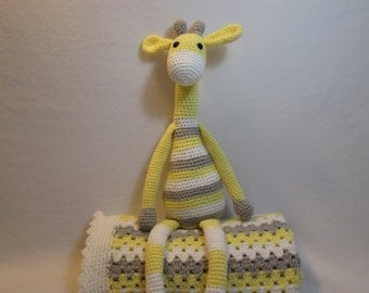 Baby blanket afghan giraffe toy yellow gray grey white or CHOOSE YOUR COLORS