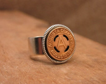Transit Token Jewelry - Coin Jewelry - Coin Ring - Augusta Coach Co. - AUGUSTA GEORGIA - Initial A - Transit Token Ring - Personalized Ring