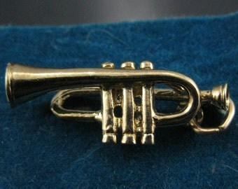 Vintage Gold Plate on Sterling Silver Trumpet Charm Musical Instrument