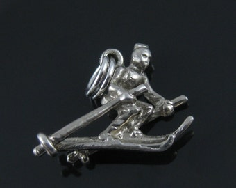 Vintage 3D Down Hill Skier Sterling Silver Charm