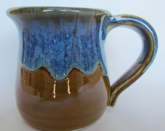 Coffee Tea Mug Cup Amber and Blue by Centered ClayWorks