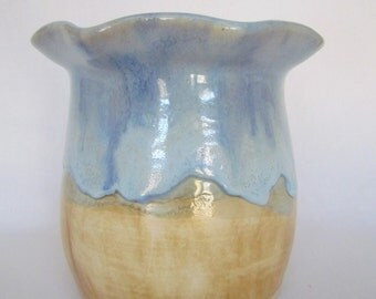 Sky Blue and Earth Utensil Holder Wine Cooler Handmade Pottery