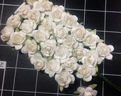 DESTASH#34 - 28 small white paper roses - INCLUDES SHIPPING