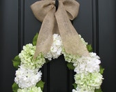 RESERVED Hydrangea Wreaths, Wreath, Green Hydrangeas, Summer Hydrangeas, Cream Ribbon Bows, Seasonal Hydrangeas, Front Door Wreaths