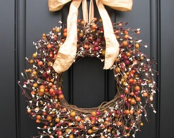 Berry Wreath for Fall,Thanksgiving Decor, Rhubarb Pie, Fall Wreaths, Berry Wreath, LOW PROFILE, Harvest Decor, Front Door Wreaths