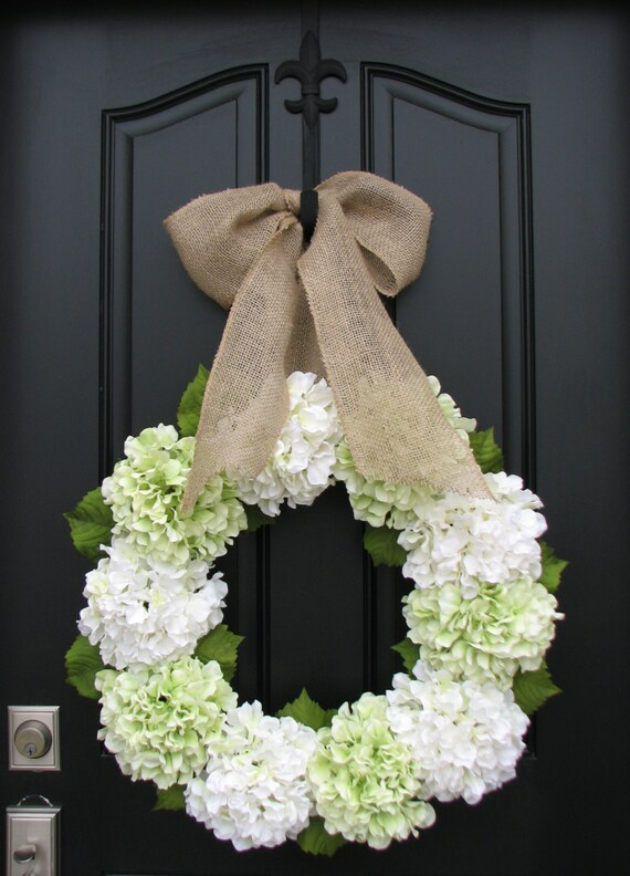 Hydrangea Wreaths, Wreath, Green Hydrangeas, Summer Hydrangeas, Cream Ribbon Bows, Seasonal Hydrangeas, Front Door Wreaths