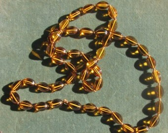 Eternity Strand of Amber Glass Faceted Beads